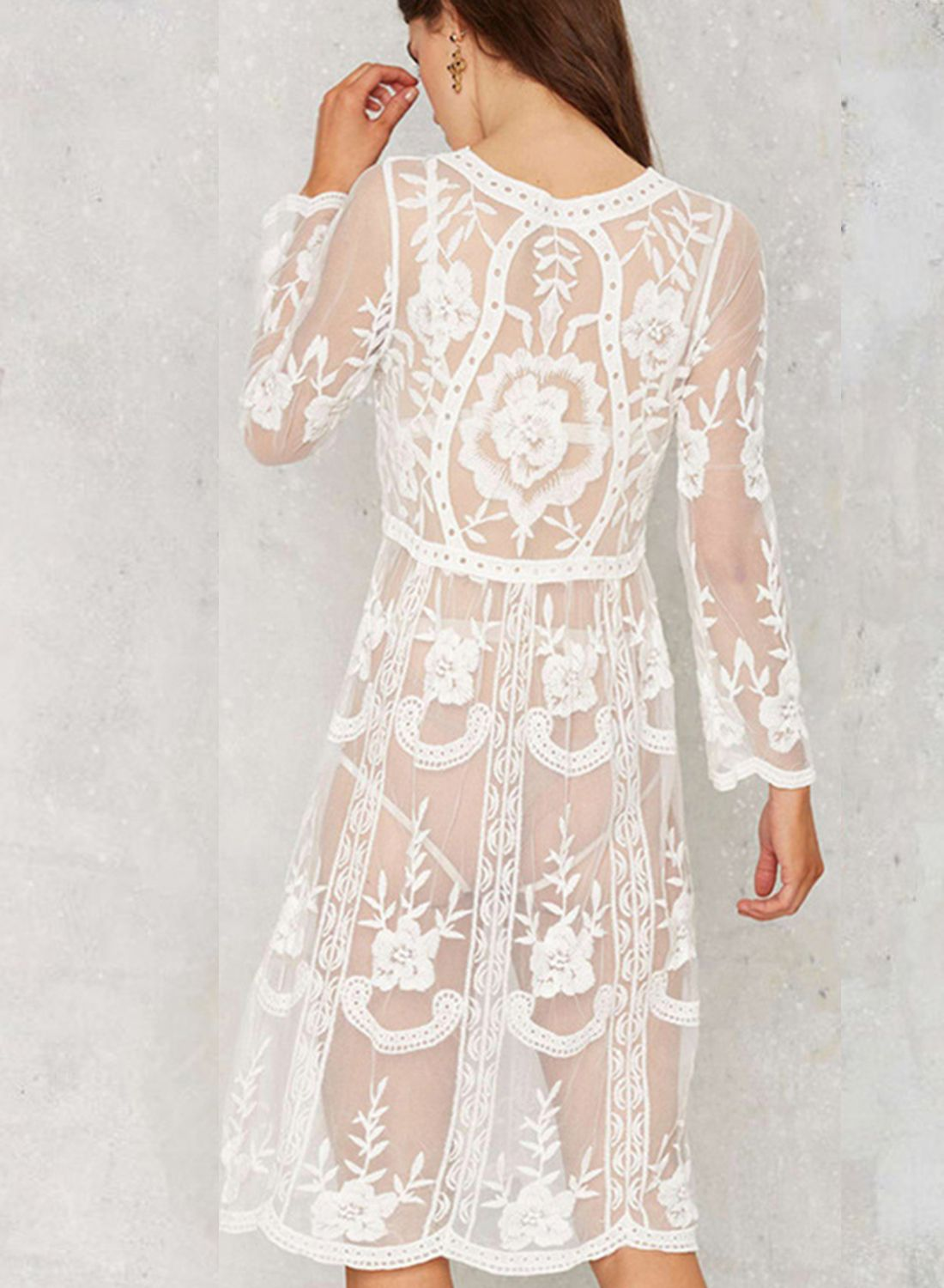 2f11f268c4 Long Sleeve Lace Bikini Cover up Dress in 2019