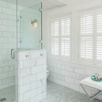 Large Marble Subway Tiles, Transitional, bathroom, JAS Design Build ...