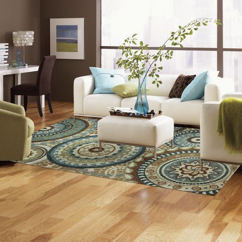 New modern medallion area rug teal blue brown cream living - Decorating with area rugs ...