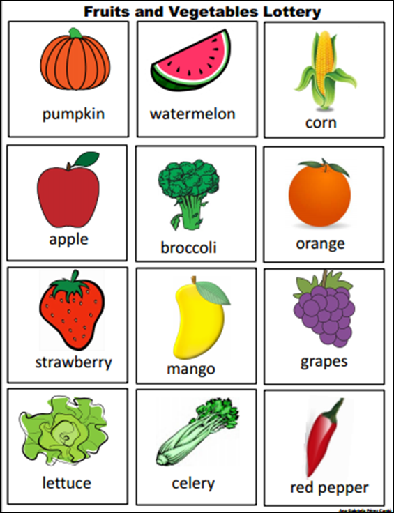 Fruits And Vegetables Lottery Educacion Pinterest Aprender
