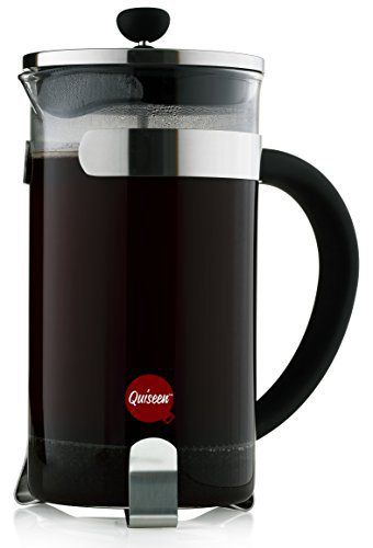 Quiseen French Press Coffee & Espresso Maker, 34-Ounce (8 4oz Cups), Chrome - 2 Extra filters included - http://teacoffeestore.com/quiseen-french-press-coffee-espresso-maker-34-ounce-8-4oz-cups-chrome-2-extra-filters-included/
