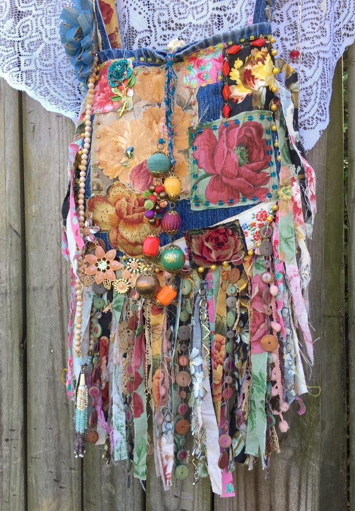 4768577834a26 Handmade Crazy Quilts Fringe Denim Bag Gypsy Boho flowers collage Purse  B.Joy