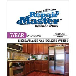 Repair Master 5-Yr Date of Purchase Single Appliance-No Washer - Under .... $100.14. Under $3000This Plan is inclusive of the manufacturer s warranty and may be purchased on any major kitchen or laundry appliance except for clothes washers and bination appliancesCarry-in service