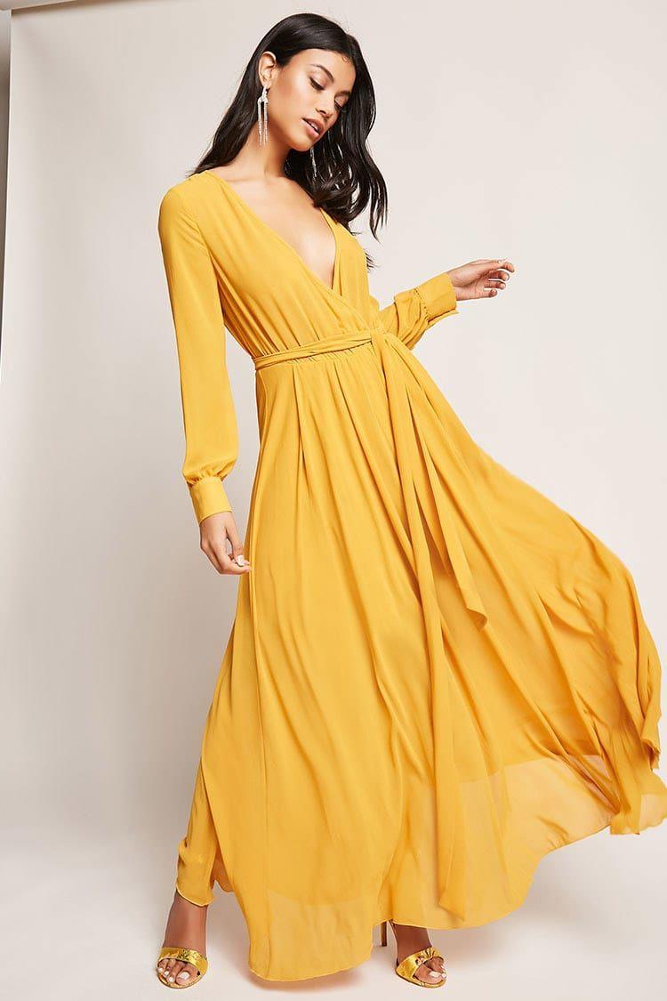 Chiffon surplice maxi dress long sleeve flowy dresses
