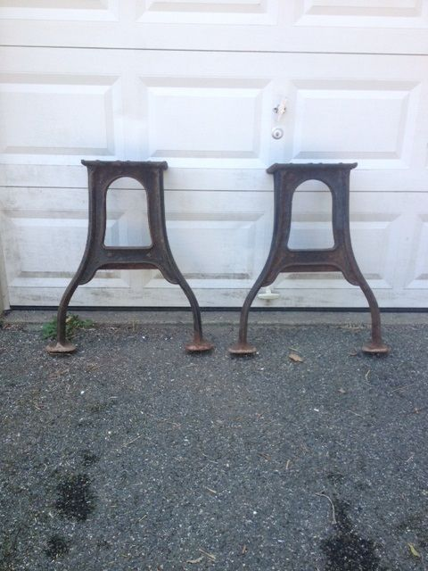 Antique Industrial Cast Iron Table Legs Pair Local Pick Up Only