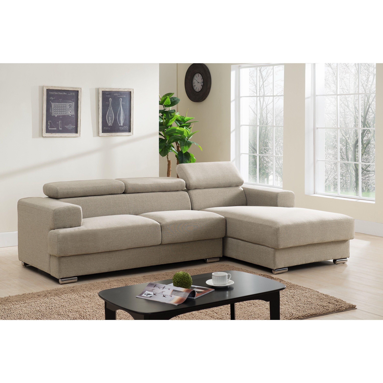 Gabriel Fabric Contemporary Sectional Sofa Set (Brown Facing-Left ...