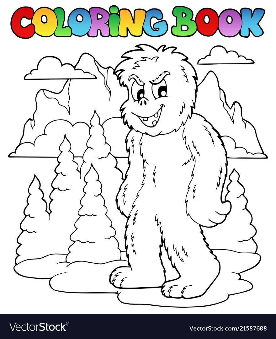 Coloring Book With Yeti 1 Vector Image On Vectorstock Coloring Books Vector Illustration Illustration