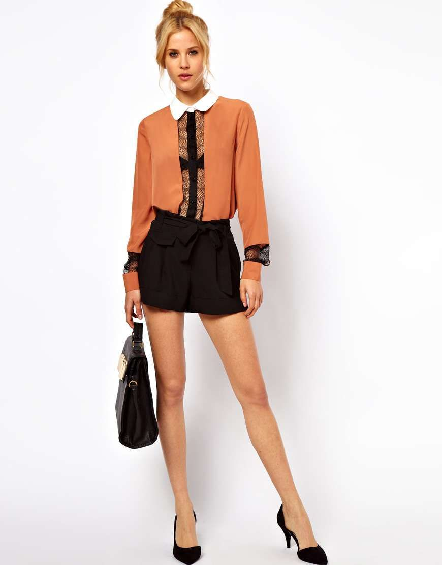 ASOS Blouse With Color Block And Lace Panels on Wantering