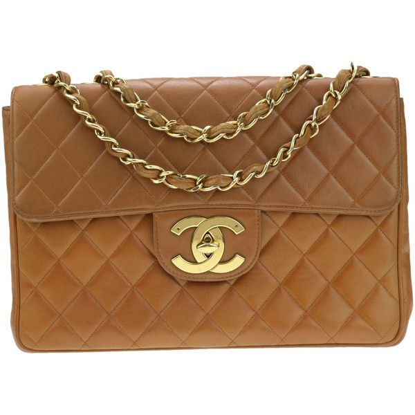 0343a0300a1d Pre-owned Chanel Vintage Camel Brown Lambskin Leather Jumbo Flap Bag  ($2,350) ❤ liked on Polyvore featuring bags, handbags, brown purse, lamb  leather ...