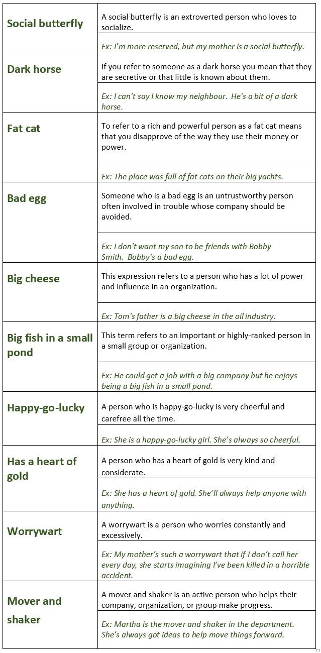 Common English Idioms To Describe People Learn Englishvocabulary