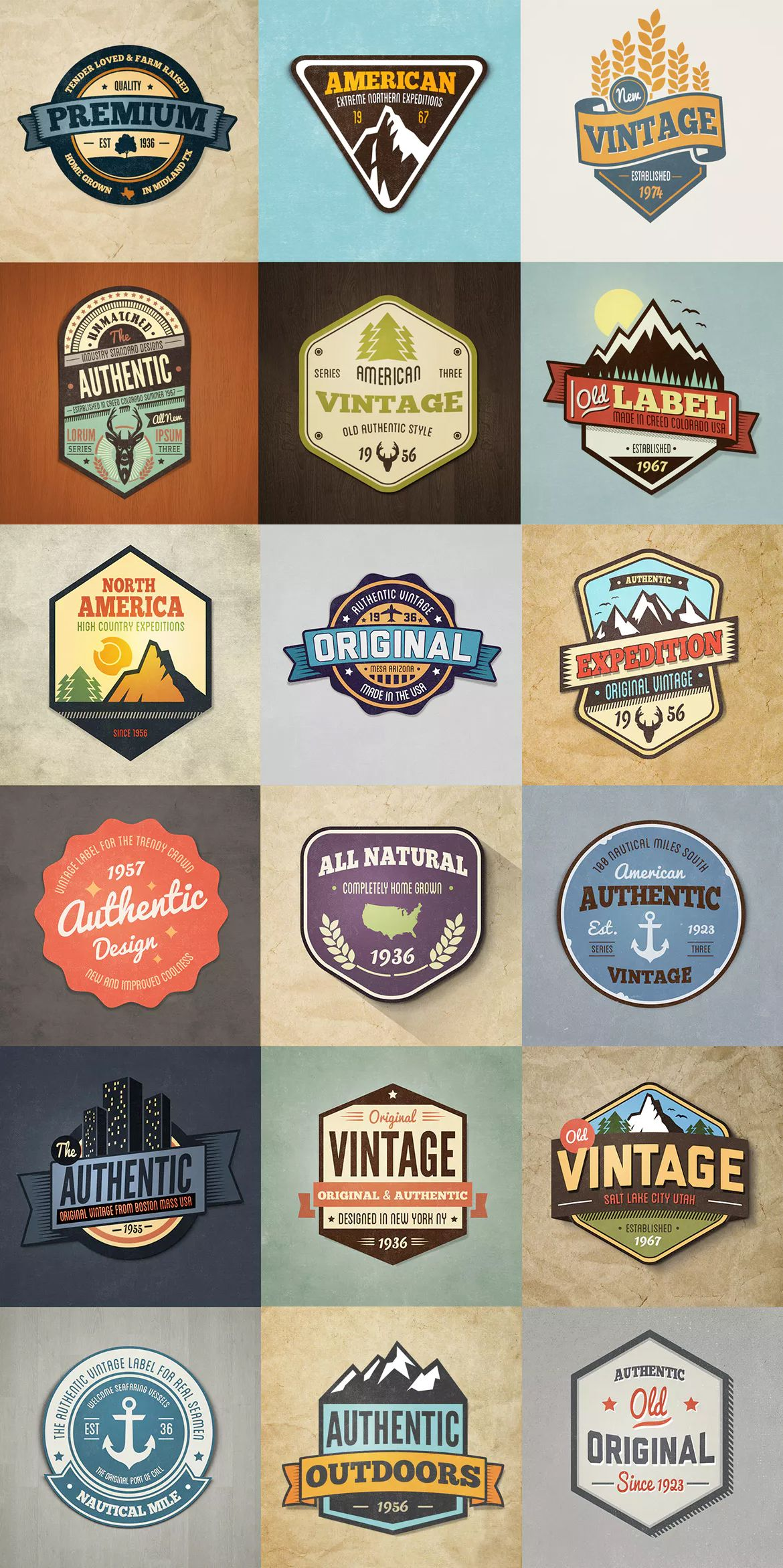 Vintage Style Badges And Logos Colored By Graphicmonkee On Envato Elements Logo Templates Psd Logo Color Logo Templates