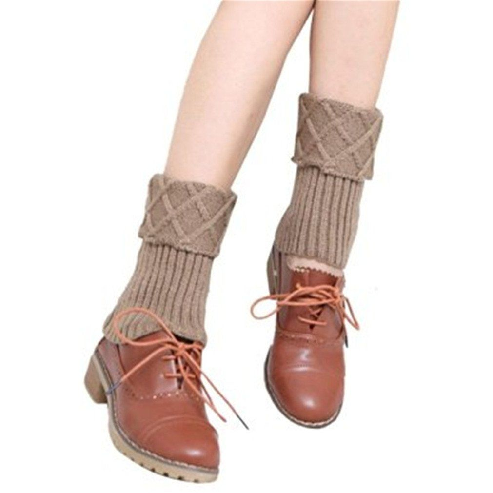 "Shuohu Leg Warmers Women Girl Knit Leg Warmer Boots Cuffs Cover Short Socks - Khaki. Type:women leg warmers. Material:Knit. Size:One size fit most,stretchy(28*15cm/11.02*5.91""). Item can keep warming, protect your legs. Soft and fashionable cable knit leg warmers. Very comfortable Stretch Fabric,a perfect gift to yourself or friends."