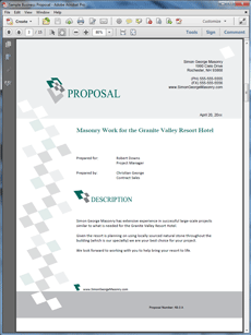 Masonry Contracting Services Sample Proposal Business Proposal Sample Business Proposal Proposal Software