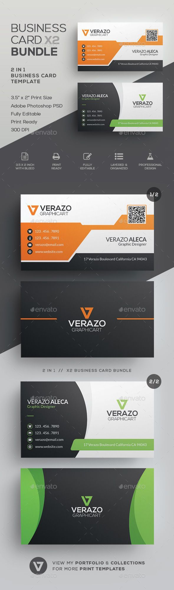 Business Card Bundle Corporate Business Cards Download Here - 2 x 35 business card template