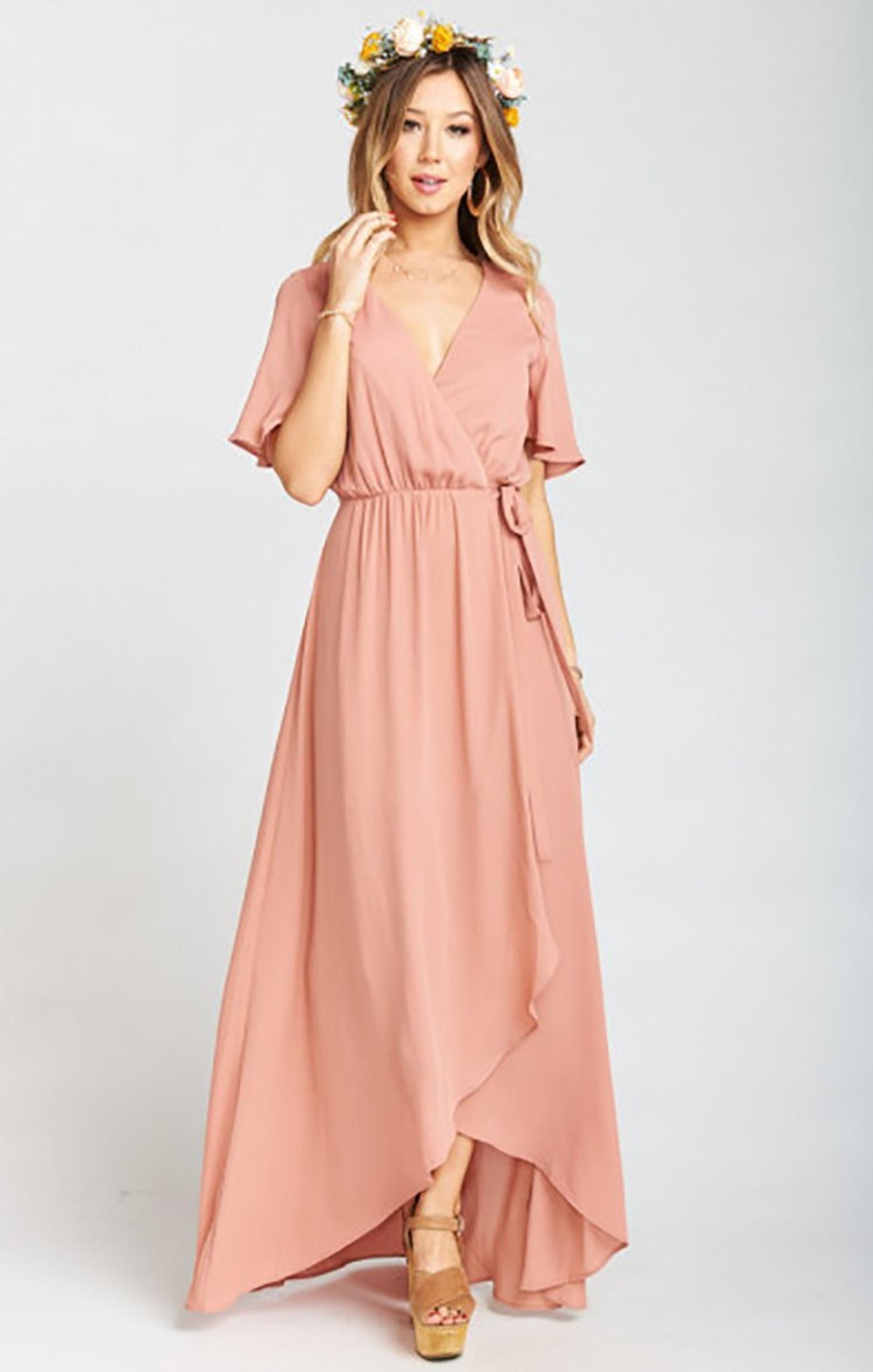 Bridesmaids Dresses,Wrap Dresses,Peach Bridesmaids Dresses