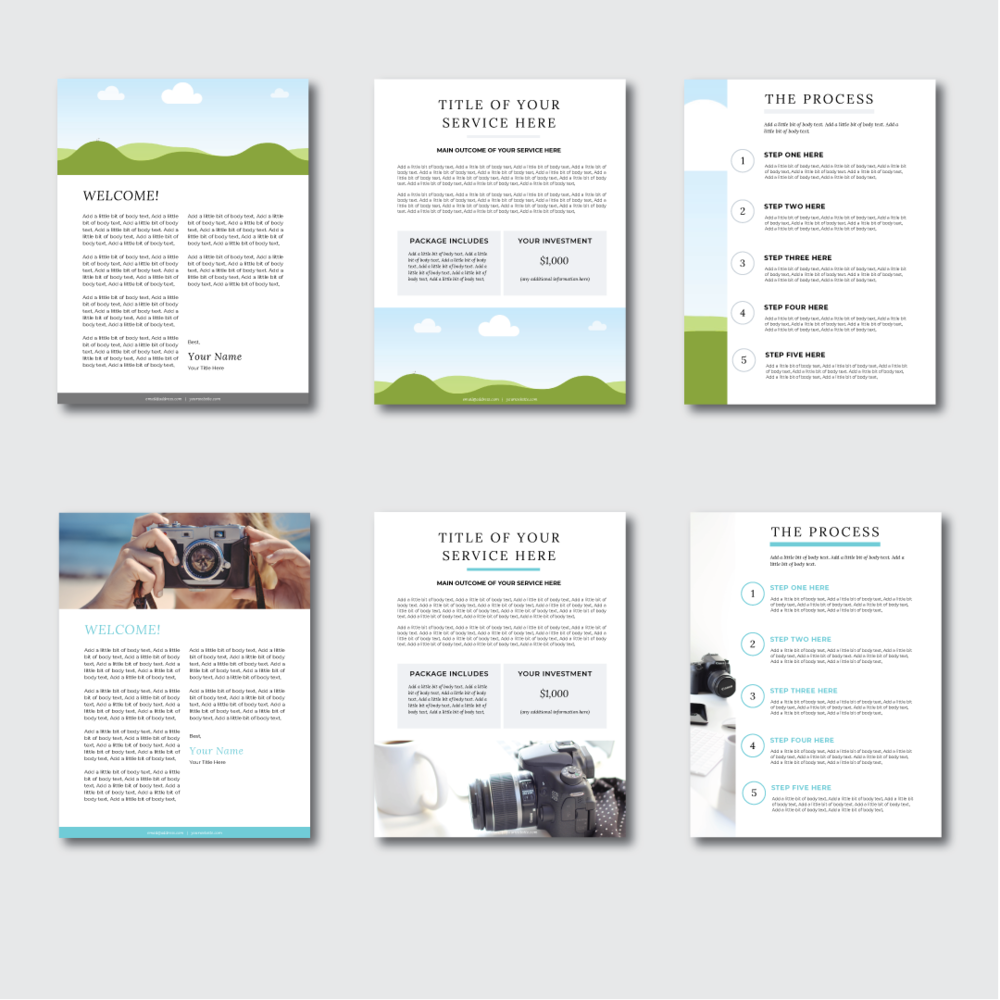Services & Pricing Template Packet For Canva