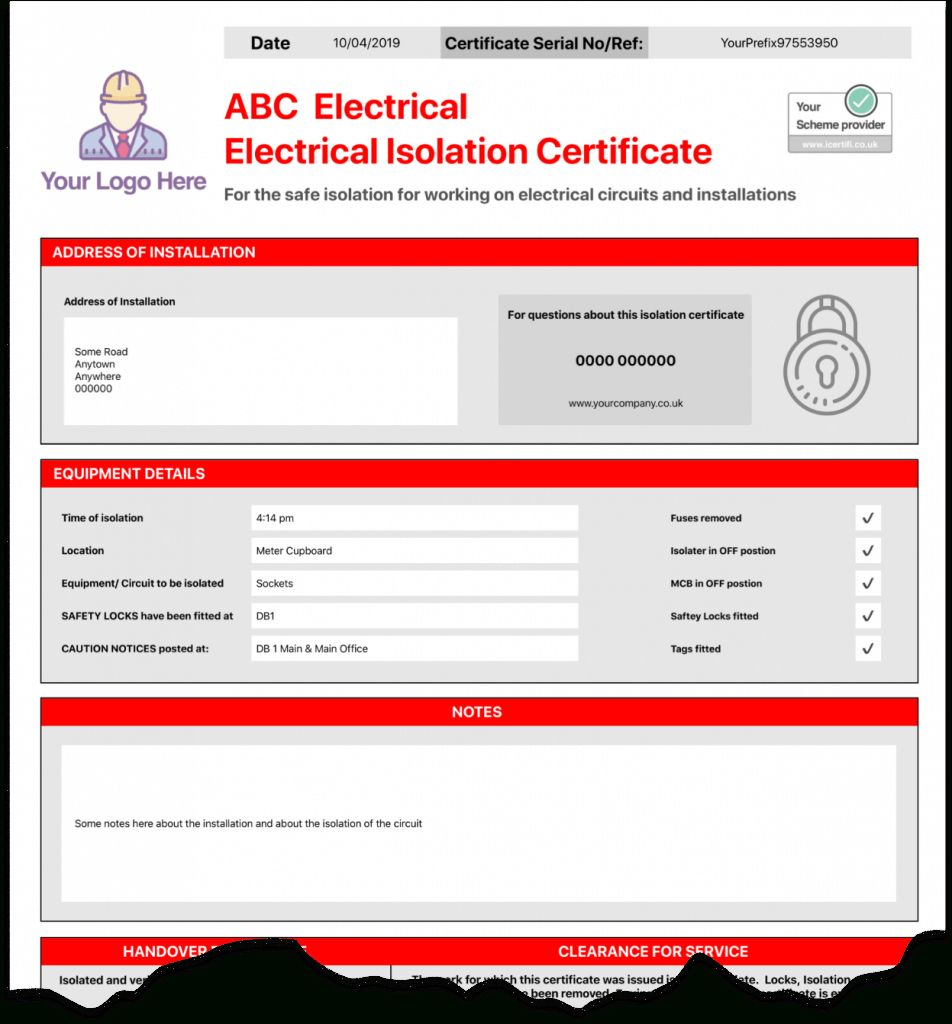 Electrical Isolation Certificate Send Unlimited With Electrical Isolation Certificate Template In 2020 Certificate Templates Business Template Professional Templates