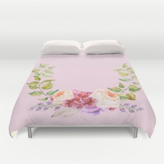 Buy ultra soft microfiber Duvet Covers featuring Watercolor flower Wreath on pink by Better HOME. Hand sewn and meticulously crafted, these lightweight Duvet Cover vividly feature your favorite designs with a soft white reverse side.
