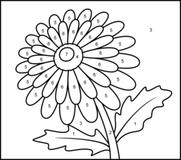 gerbera printable color by number page - Simple Color Number Printables