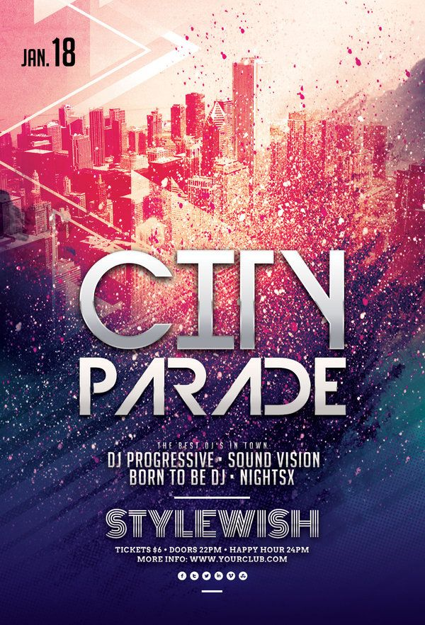 city parade party flyer by stylewish on graphicriver psd template