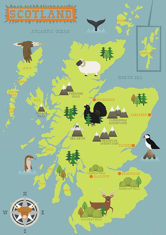 A Rambler S Map Of Scotland Heavyweight Print By Inkspillsinc