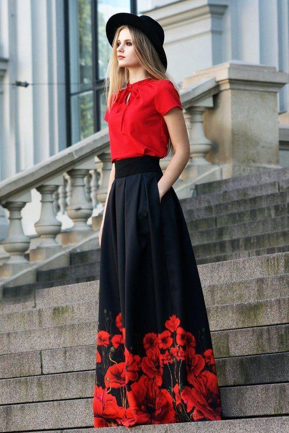 Photo of Black Maxi Skirt, Gothic Clothing, Floral Skirt, Plus Size Maxi Skirt, High Waisted Skirt, Ball Skirt, Women Skirt, Flower Skirt, Goth Style