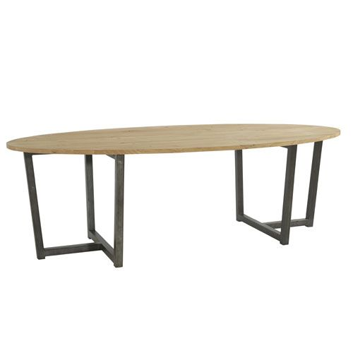 Table A Manger Ovale En Chene Et Pied Metal Dilla Zenna Table