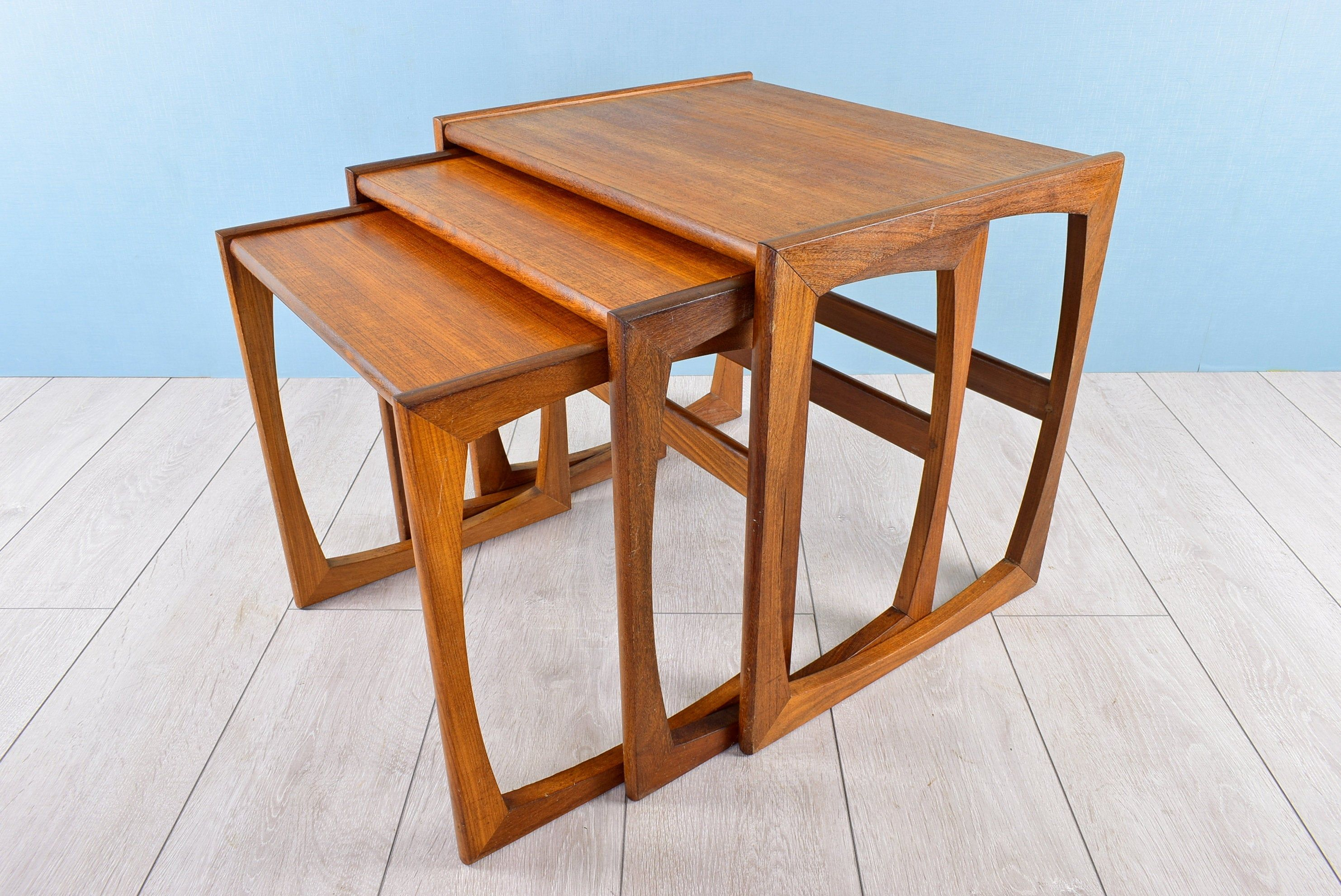 G Plan Quadrille Nest Of 3 Tables Vintage Set Gigogne Salon Side Nesting Furniture In Teak And Afrormosia Danish Modern Style Uk 1960s Danish Modern British Furniture Danish Furniture