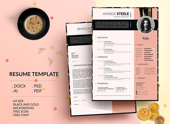 Black and Gold CV Resume Template/ N - THIS IS A DIGITAL DOWNLOAD