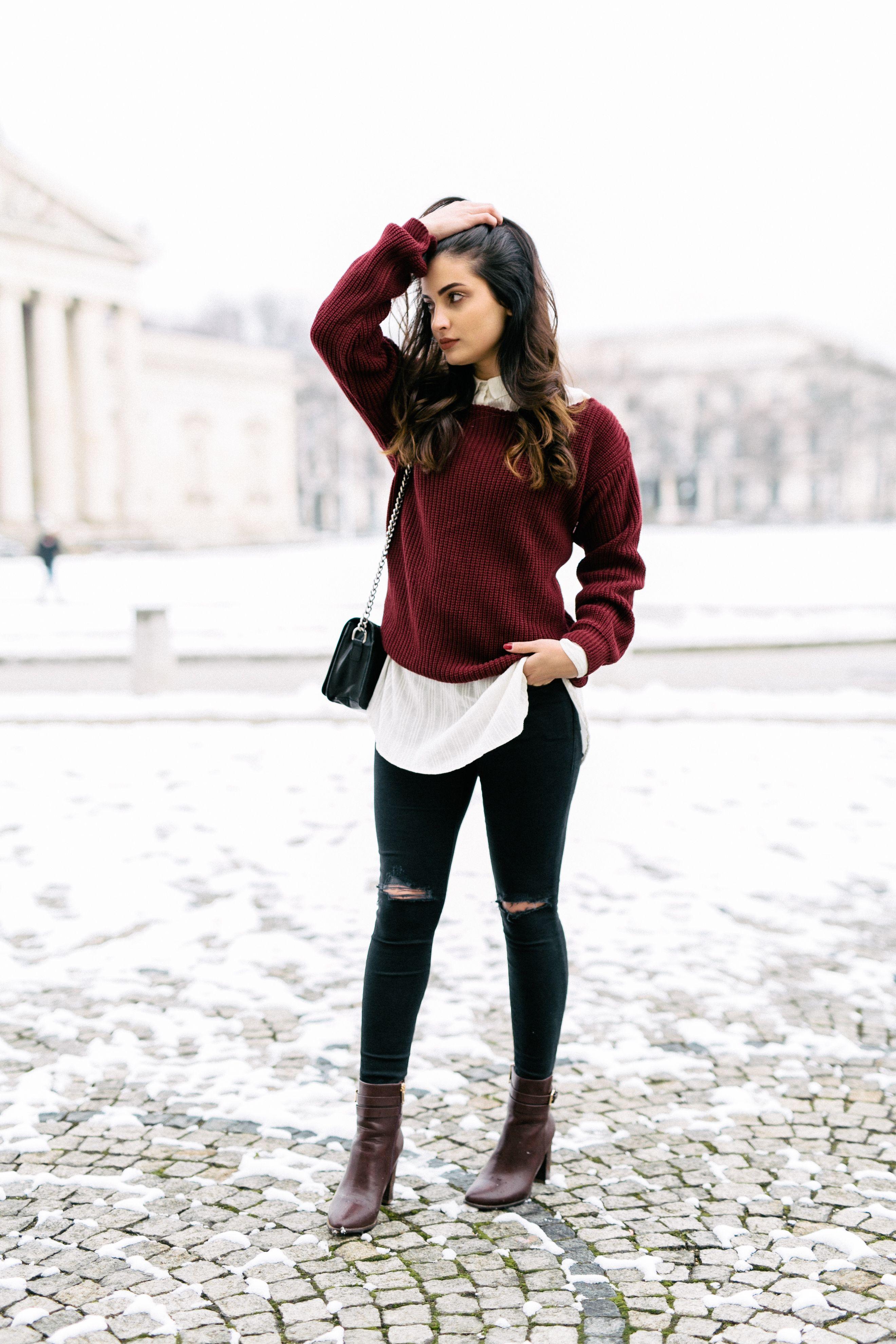 #casual #burgundy #sweater #mernamariella