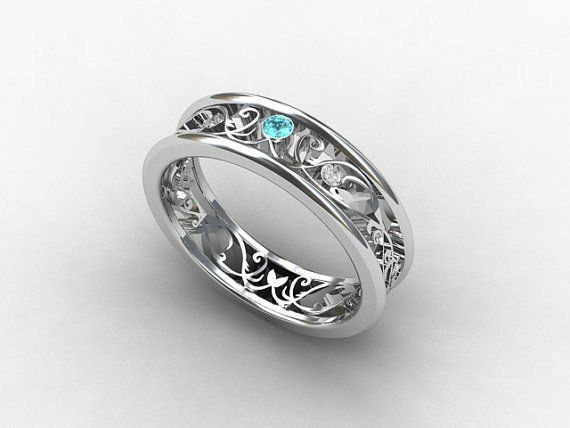 Aquamarine Ring Diamond White Gold Filigree Wedding Band Blue