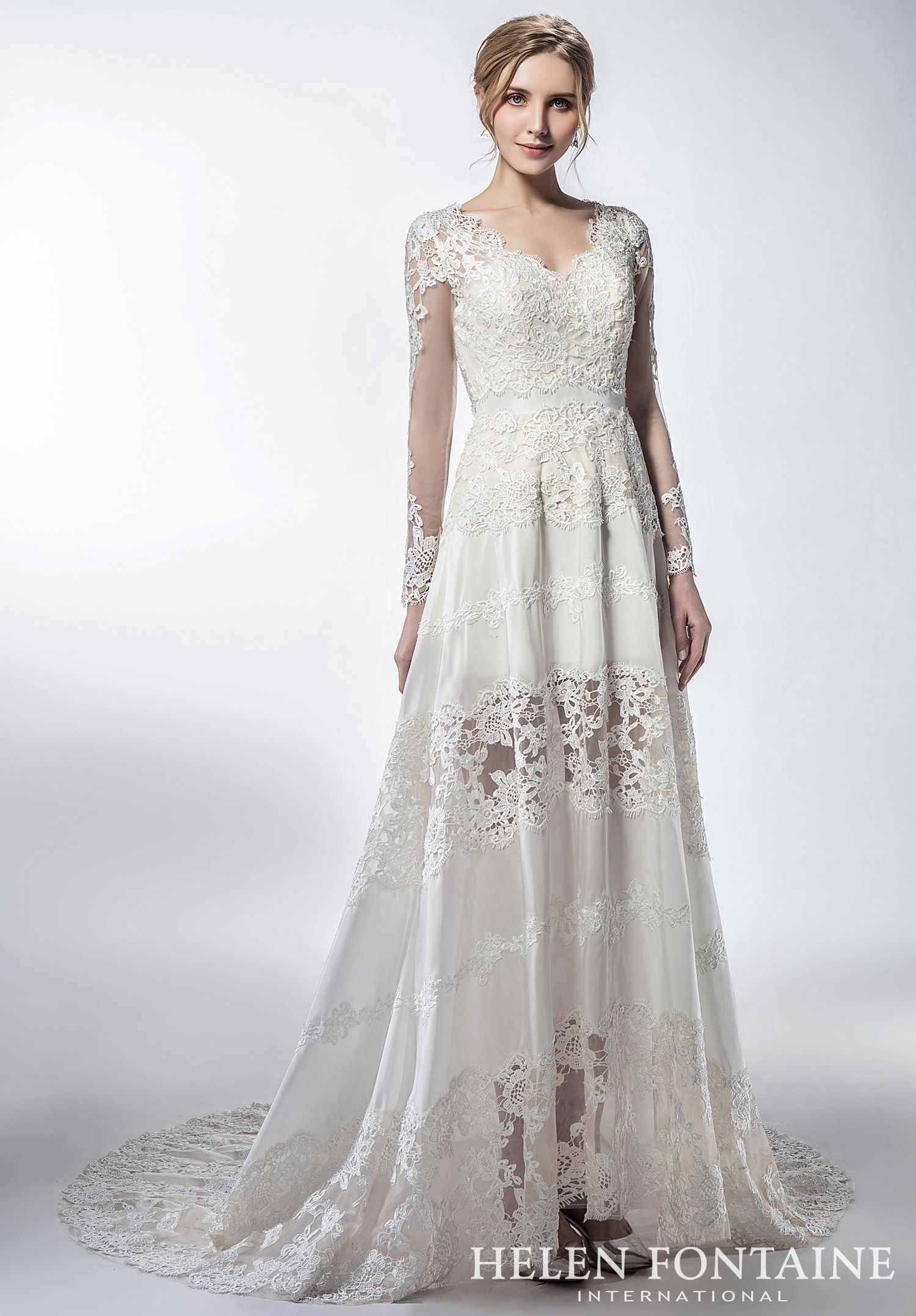 Vintage Style Lace A Line Wedding Dress With Long SleevesStyle HFW2768