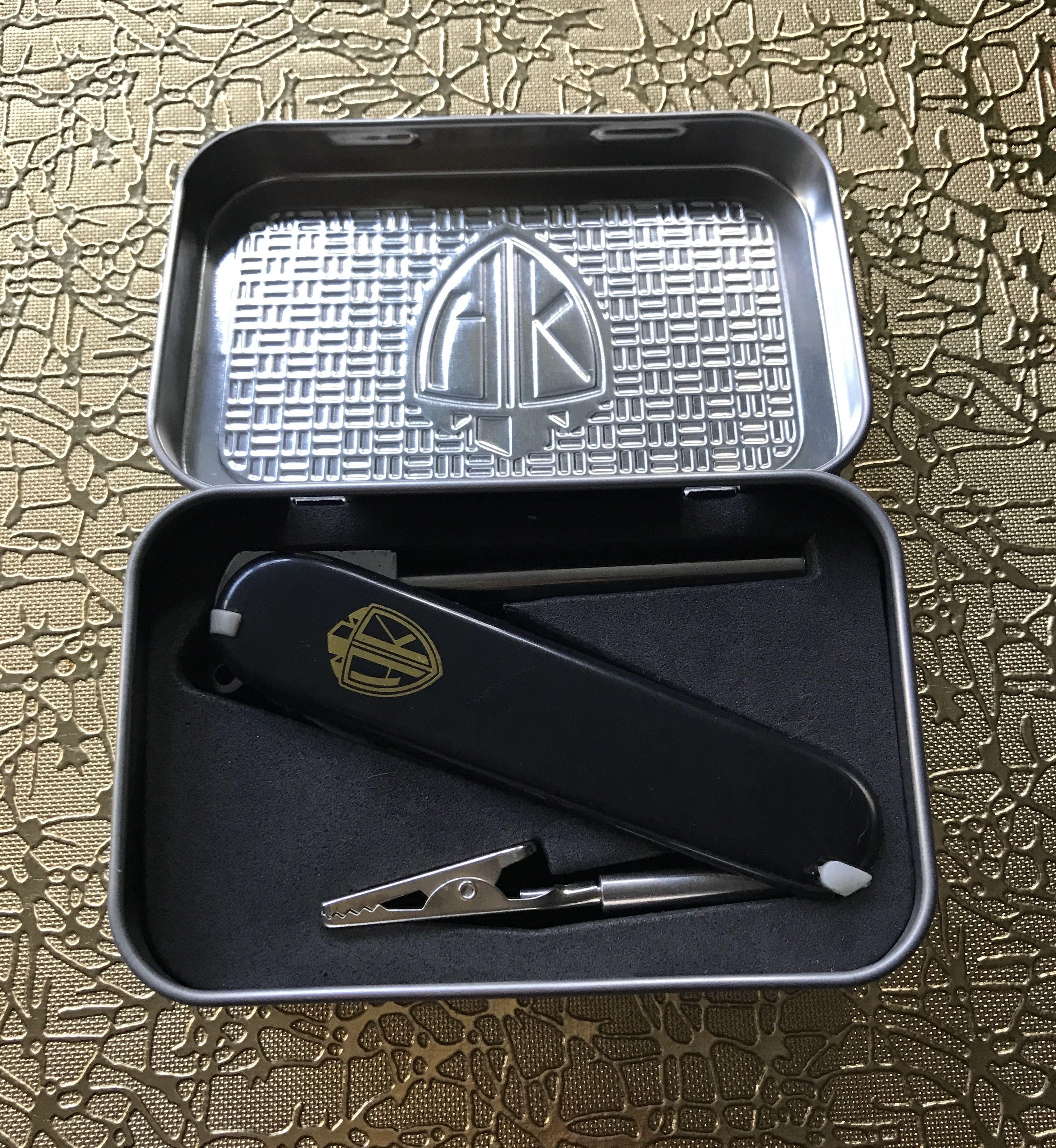 Wedding Gift From Groomsmen: High Knife Presented In Its Metal Stash Box Www.highknife