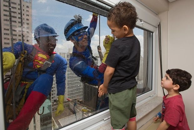 Super hero window cleaners at a childrens hospital! | Sick kids, Captain  america, Window cleaner