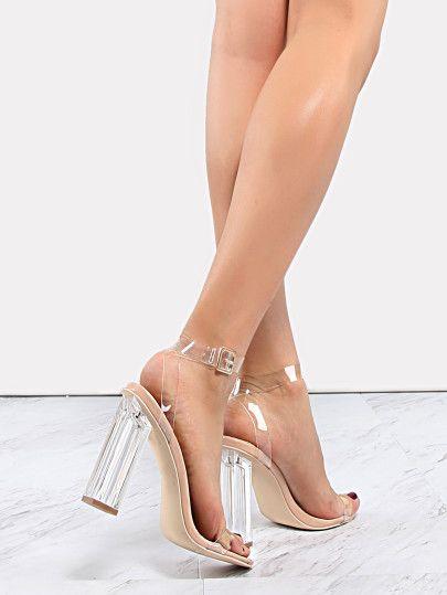 Clear Strap Perspex Heels TRANSPARENT