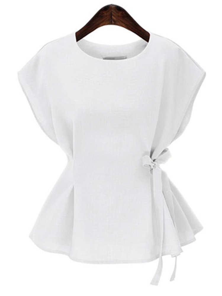 5339d7569d Chiffon Solid Color Bow Waist Short Sleeve T-shirts | t shirt in ...