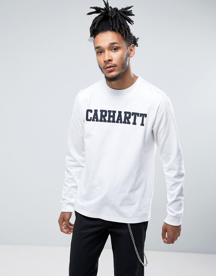 f99c7918bb2c CARHARTT WIP LONG SLEEVE COLLEGE REGULAR FIT T-SHIRT - WHITE. #carhartt  #cloth #