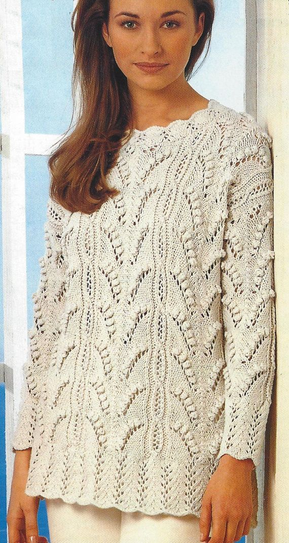Ladies Aran Sweaters with lace and bobble design and collar option ...