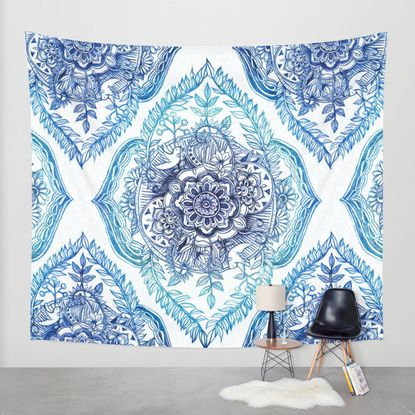 Indian Ink - in Blues Wall Tapestry by Micklyn | Society6