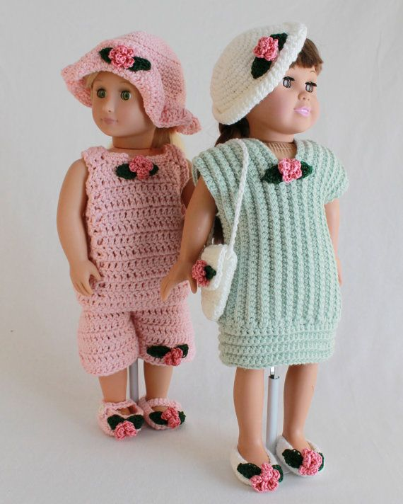 Summer Outings Outfits for 18 Inch Dolls Crochet Pattern PDF | Muñecas