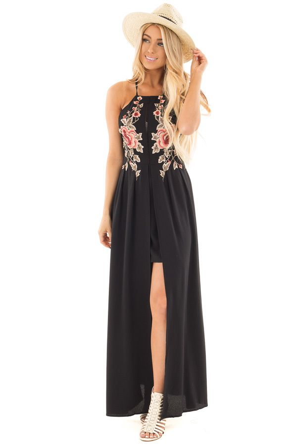 Black Embroidered Halter Dress