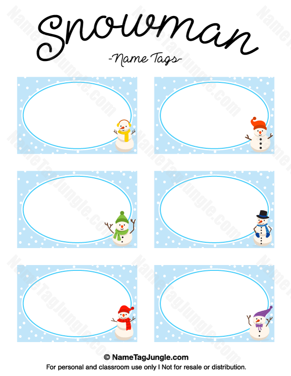 Free Printable Snowman Name Tags The Template Can Also Be Used For Creating Items Like Labels And Place C Christmas Name Tags Tag Templates Name Tag Templates