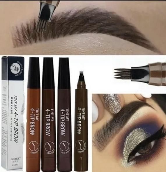 Eyebrow Liquid 4 Tip Pen liner Microblading Tattoo Makeup Brown Red Gray Brown Waterproof *HOTSELLER*