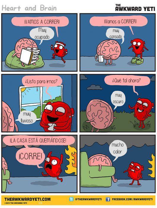 Corazon Vs Cerebro Este Divertido Comic Muestra La Batalla Constante Entre Pensar Y Sentir Corazon Vs Cerebro Cerebro Humor Cientifico