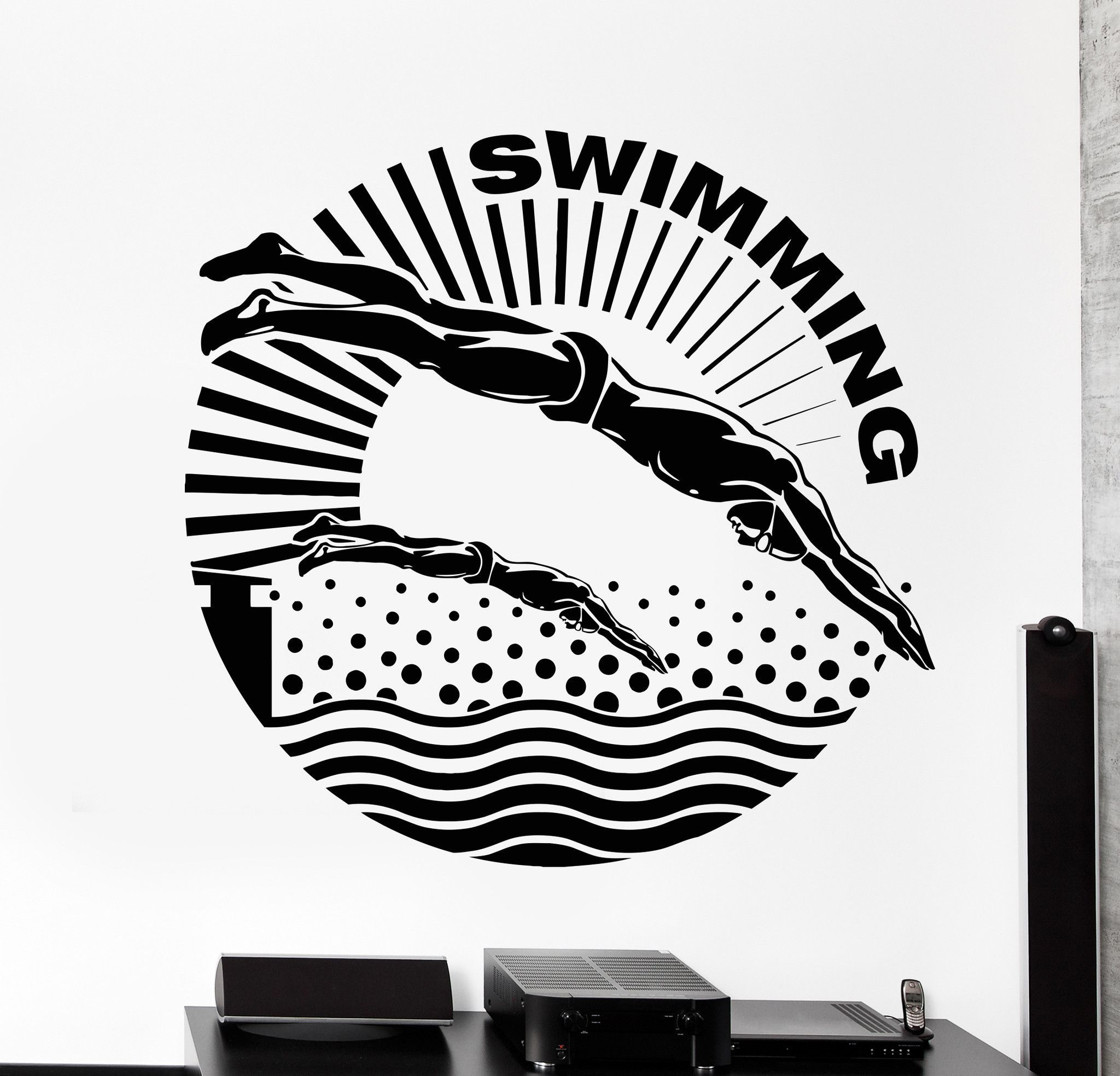 Vinyl Wall Decal Swimmer Water Sport Swimming Pool Stickers Unique