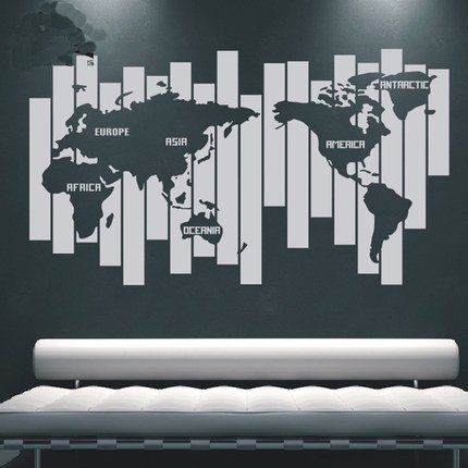 World map wall decals wall decals and walls world map wall decals gumiabroncs Image collections