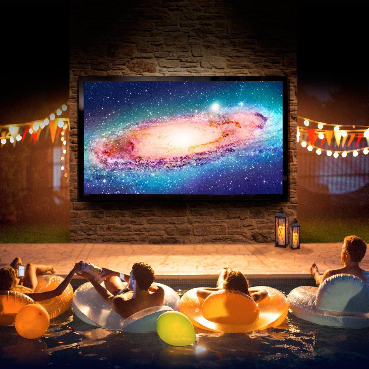 "Seura 84"" Storm Ultra Bright Black Outdoor UHD 4K TV set up jus like this be badass"