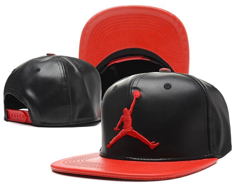 Jordan Leather Snapback Hats Black 145
