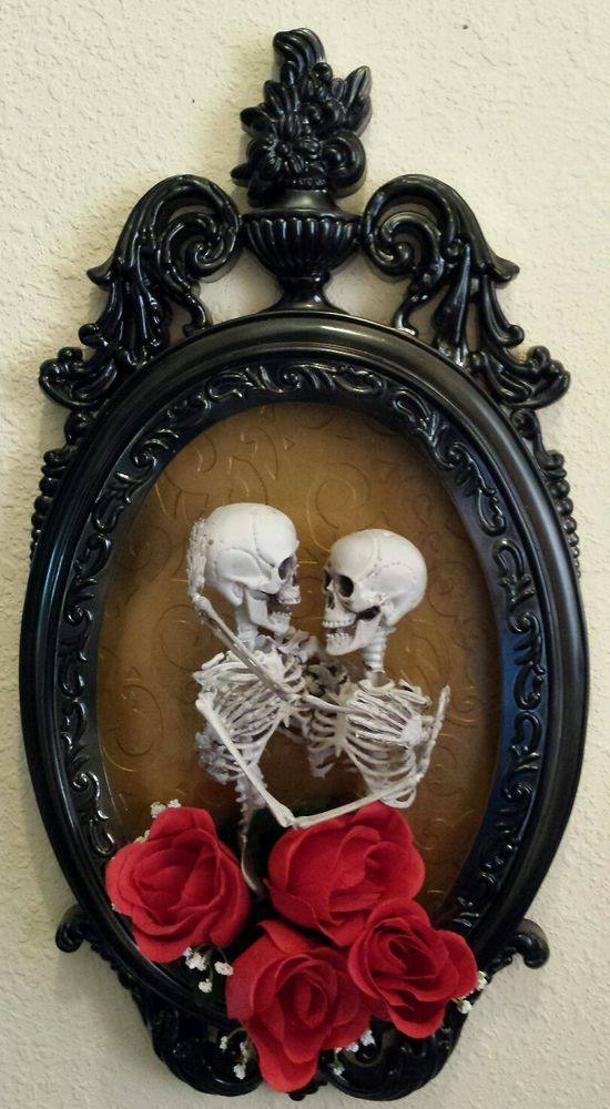 Halloween 3D Elegant Skeleton Couple Embracing-Shadow Box Horror - elegant halloween decorations