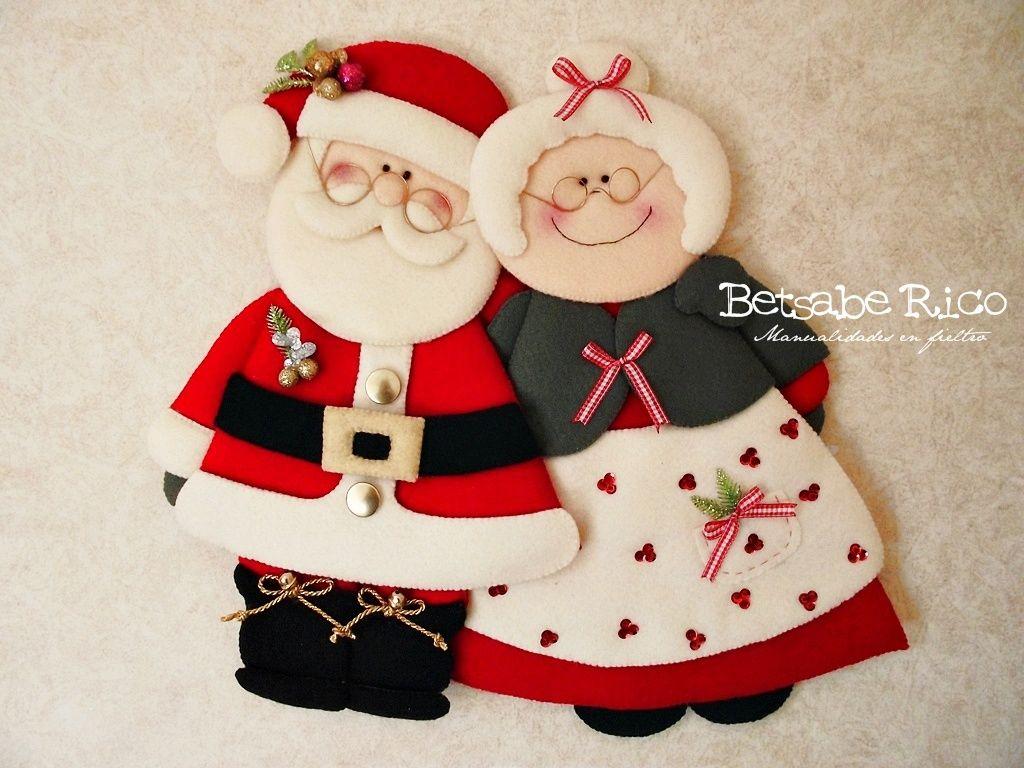 """Molde """"Sr. Y Sra. Claus"""" $ 6.50 USD Navidad todo el año con el Sr. y la Sra. Claus Medidas 50 cm de alto Betsabe Rico © Compra aqui: http://betsaberico.wix.com/felt-betsabe-rico#!halloweenchristmas-time/c1tt4/c1tt4/imageg3c"""